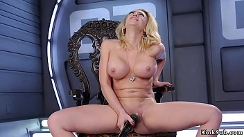 Kagney Linn Karter in high heels shoes in wooden chair masturabtes with vibrator then in shaved pussy shoves fucking machine Thumbnail