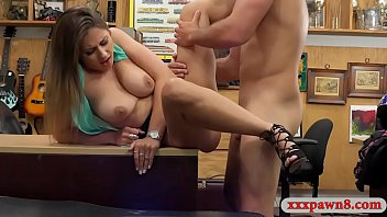 Huge breasts brunette woman sells her helmet and gets her pussy banged by nasty pawn man