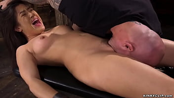 Little shackled brunette Asian slave Kendra Spade gets hairy pussy licked then big cock master Derrick Pierce fucks her pussy and asshole and cums