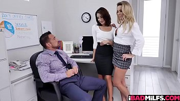 Office ladies shares their boss huge cock taking their turns sucking it deep!