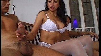 Hairy Women take 2 Big Cocks inside her ASS