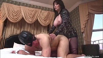 Big tits brunette MILF femdom in lingerie Madeline Marlowe torments cock to masked man slave Reed Jameson then makes him sniffing her ass before gives him pegging