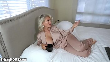 Classy blonde russian mature stepmother Casca Akashova with big boobs misses her hubby