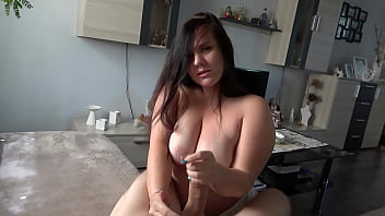 chubby neighbor fucked and tits covered in cum!