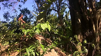 Sex in the tropical forest with thick girl