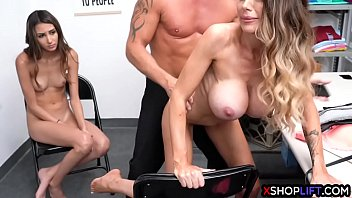 Skinny mature mom got fucked in front of her shoplifting girl