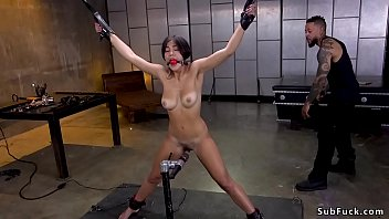 Hairy pussy fresh brunette Asian slut Kendra Spade in b. bondage with ballgag in mouth gets hard whipped