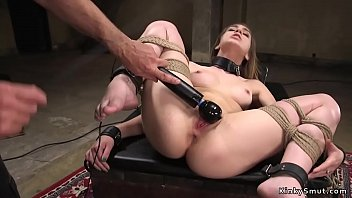 Gagged brunette slave beauty Joseline Kelly rides vibrator on a stick then gets masters big dick