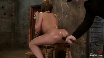 Tied Amy Brooke has orgasm and squirts on a chair