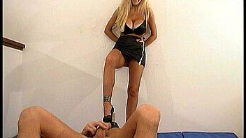 Blonde mistress dominates sub guy Thumbnail