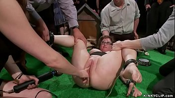 Dominatrix Princess Donna Dolore whips bound brunette BBW Alexxa Bound and fingers and fists her pussy and makes her cum in public