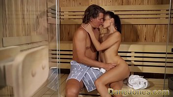 Dane Jones Kate Rich sucks Ricky's hard cock, and they fuck in the sauna before moving into the shower for a hot and wet sex session