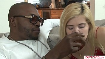 Blonde sharing a cognac before fucking her black stepdad