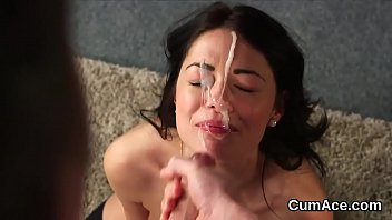 Kinky centerfold gets cum shot on her face eating all the ejaculate