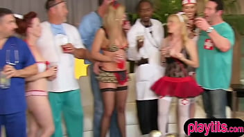Swinger party with funny costumes and amateur chicks