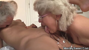 Old couple fucks a young lustful bitch