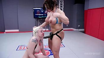 Big boob Lesbians Wrestling As Leya Falcon battles Brandi Mae and things get rough before winner strapon fucks loser