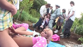 Uncensored JAV super tan gyaru sex party at the farm featuring blowjob free for all in background in HD with English subtitles