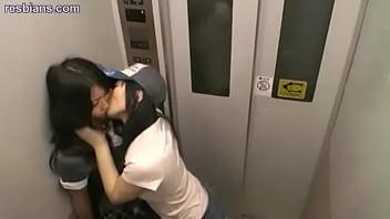 Sluts kissing in elevator