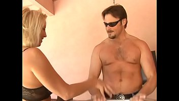 Desirable blonde female parent was destroyed with big white cock of fitness instructor on a wooden table