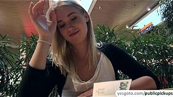 Super beautiful blonde hottie gets paid for public nudity and sex