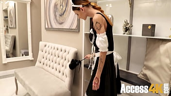 Maid Fucked After Getting Stuck Under Expensive Sofa