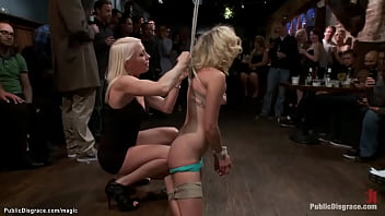 Blonde dominatrix Lorelei Lee ties gagged blonde on knees and canes her for the crowd in public place then James Deen and stranger gangbangs her