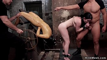Master with his assistant fucks throat to brunette slave trainee then anal fucks her ~ slave Phone clip Thumbnail