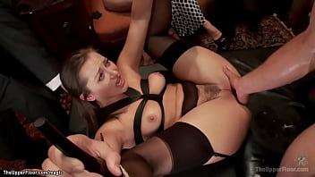 Different slaves and service sluts are whipped and tormented then Dani Daniels and Penny Pax are fucked together with other sluts at bdsm orgy party