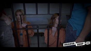 Two Hot Teen Daughters Let Each Others Dad's Fuck Them Out Of Jail