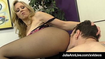 Busty Blonde Milf Julia Ann teases a limp dick, taunting & a. him until he fucks her pantyhose covered legs until he dumps his cum on her feet! Full Video & Julia Live @ JuliaAnnLive.com!