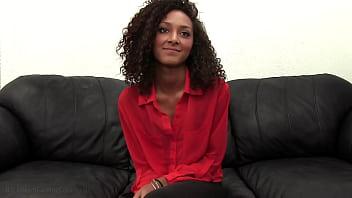 Young Ebony Petite Olivia Gives Sloppy Deepthroat BJ For Fake Casting!