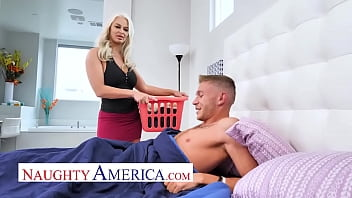 Naughty America - London River is a hot blonde MILF that easily gets distracted by morning wood