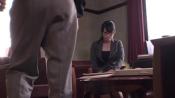 Cute japanese office angel offers a blow job to her boss before wetting her pantie and receiving a hugh creampie