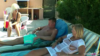 HIS WIFE AND HER SISTER LET HIM WATCH WHILE THE FUCK THE POOLBOY IN THREESOME