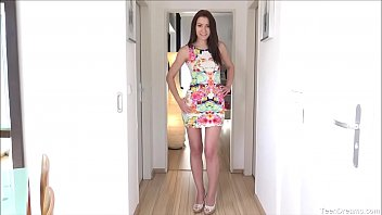 Super hot Aiko Mai in colorful dress and heels with no panties always down to play with herself for you