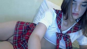 Brunette Teen in School Uniform - BasedCams.com