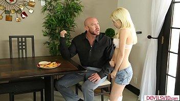 Blonde babysitter seducing and sucking off her boss cock