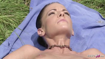 Skinny Naturism Girl Blackmail to Violence Anal Fuck by Stranger at Public Beach in Grass