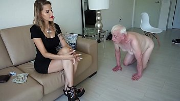 Bad mistress bewitches an old man and humiliates him him to walk all on fours