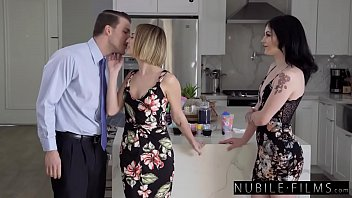 Two Petite Babes Easter Threesome With Lucky Boyfriend