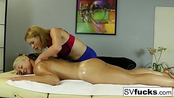 Watch Lesbians oiled up in erotic massage with Sarah Vandella preview