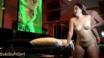 4K asian girl passionate sex with white man @sukisukigirlreal @andregotbars