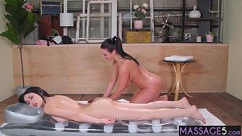 Sexy lesbians enjoyed hot body massage Thumbnail