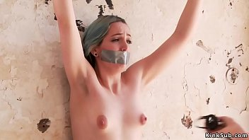 Mistress whips tied up naked perky tits Euro slut Liz Rainbow with taped mouth at abandoned train station