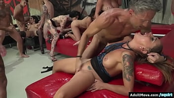 Busty euro babes face a big amount of big cocks.They facesit and deepthroat.The orgy turns into a dp and double anal fuck and ends with a squirt
