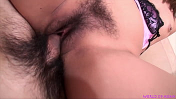 Sexy Japanese getting cum filled hairy pussy