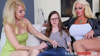 PlatinumPornstars geeky dude gets his dick sucked & fucked by two grannies