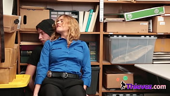 When this criminal is caught shoplfting at a local store he is taken to an office where he is questioned and stripped down where she subdues him into fucking her pussy in multiple positions