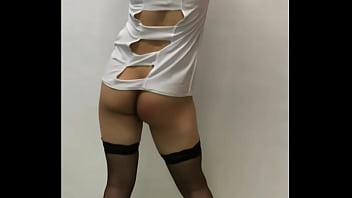 Taiwan Crossdresser Self Spanking Punishment In Nurse Costume Stockings
